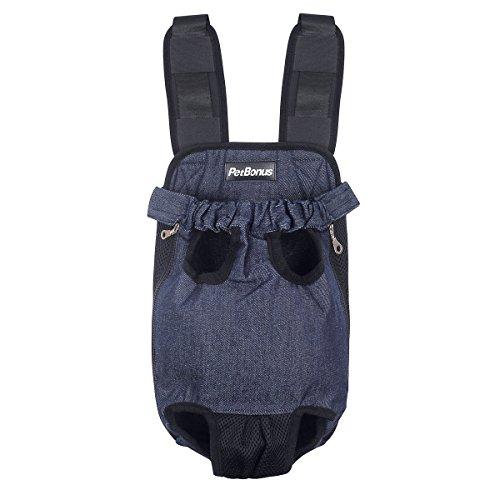 PetBonus Denim Blau Front Känguru Tasche Hund Carrier, Breite Träger mit Schulterpolster, Verstellbar und Beine aus Pet Rucksack, für Gehen, Reisen, Wandern, Camping, Large, Denim-Blau -