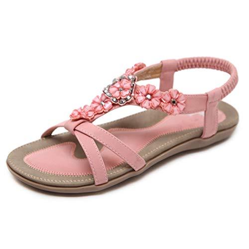Frauen Böhmen Blume Strass Flache Sandalen Open Toe T-Strap Slip on Elastic Strap Sommer Freizeitschuhe Sofft Slip Heels