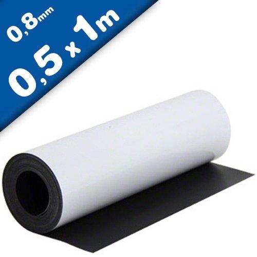 Magnetfolie weiß matt beschichtet 0,8mm x 50cm x 100cm - flexible magnetische Folie, in Digitaldruck bedruckbar, haftet auf allen metallischen Oberflächen