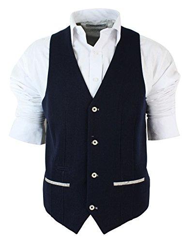Veste ou Gilet Homme Coupe cintrée Bleu Marine crème Style Tendance Chic décontracté