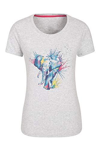 Mountain Warehouse Camiseta con Estampado de Elefante para Mujer - con protección UV, Ligera, Transpirable, Alta absorción, de Secado rápido - para Senderismo, Deportes Gris 50