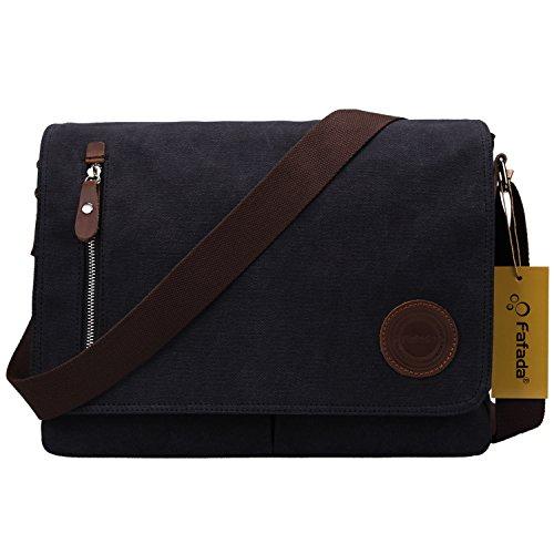 Umhängetasche Herren Fafada Unisex Vintage Canvas Schultertasche Messenger Bag Aktentasche für 14 Zoll Laptop A4 Ordner Arbeit Uni Reise Sport