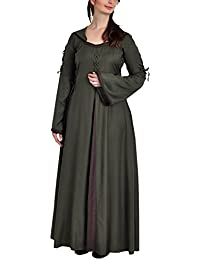 Medieval Dress with Hood Bell Sleeves Lacing Green