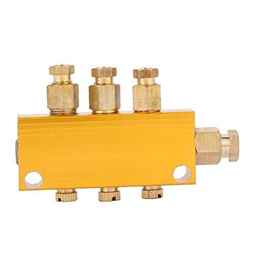 Ölverteiler-Ventil Einstellbarer Messing-Wert-Verteilerblock Schmiede-Maschinen Druckguss-Maschinen Holzbearbeitungsmaschinen Mechanische Ausrüstung (1 inlet 3 outlet)