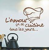 HHZDH Küche Aufkleber Französisch Vinyl Wandaufkleber Tapete Wandbild Wandkunst Küche Wandaufkleber 40 cm X 25 cm