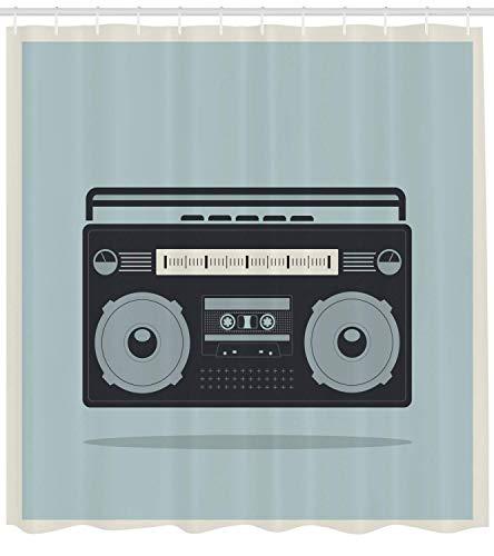 r Vorhang Classic 1980er Jahre Boombox Bild auf Doodle Retro Background Nostalgic Urban Ghetto Theme Cloth Fabric Bathroom Decor Set mit Hooks Blue Charcoal ()