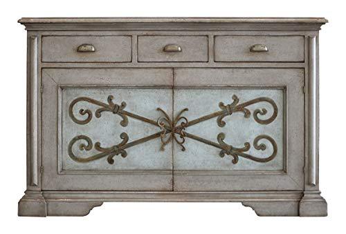Veronesische Anrichte Antiquariat mit 2 Türen und 3 Schubladen aus Massivholz, Buffetschrank in Grau Farbe mit Rost Effekt, Elegante Anrichte Klassicher Stil.