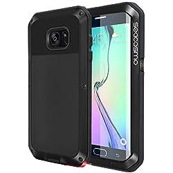 seacosmo Coque Galaxy S6 Edge, Antichoc Étui [Anti-Scratch] Protection Housse Métal Heavy Duty Bumper Cover pour Samsung S6 Edge, Noir