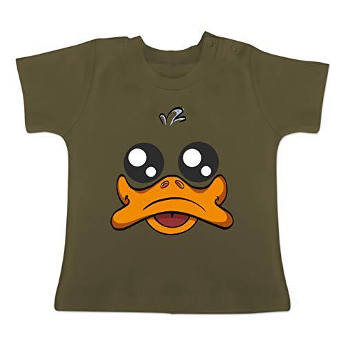 g Baby - Ente Kostüm Gesicht - 18-24 Monate - Olivgrün - BZ02 - Baby T-Shirt Kurzarm ()