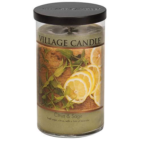 Zitronen-salbei-kerze (Village Candle Citrus & Sage 24 oz Large Tumbler Zitrusfrucht und Salbei Duftkerze im Zylinderglas 680 g, Glas, grün, 9 x 9 x 15.4 cm)