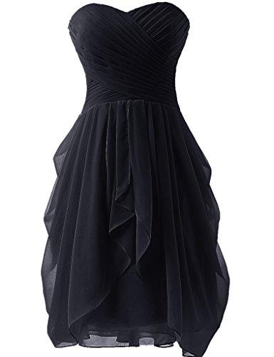 Huini - Vestito corto da damigella d'onore, in chiffon increspato, senza spalline, adatto anche per balli studenteschi Black