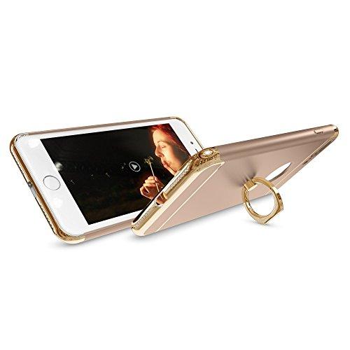 iPhone 8 Plus / 7 Plus Ring Hülle Handyhülle von NICA, Schutz mit 360-Grad Fingerhalterung, Dünnes Hard-Case mit Ständer, Slim Back-Cover Etui matt metallisch für Apple i-Phone 7+ / 8+ - Rose Gold Gold