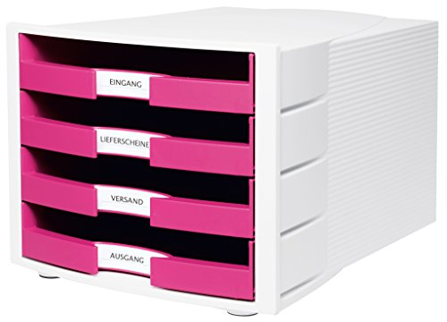 Han Impuls Schreibtisch-Schubladenbox (Stapelbare Sortierablage mit 4 großen Schubladen für DIN A4/C4, inkl. Beschriftungsschilder, 29,4 x 36,8 x 23,5 cm (B x T x H)) pink/weiß