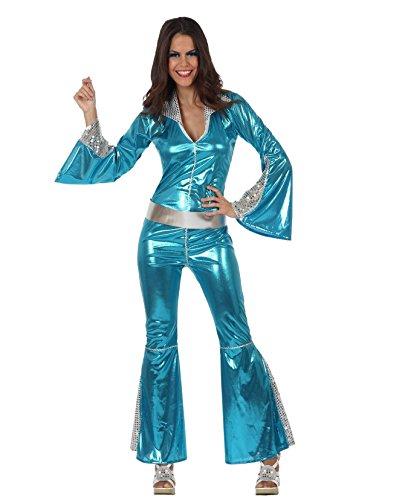 Disco-Jumpsuit Damenkostüm 70er hellblau-Silber M / L ()