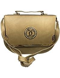Bizarre Vogue Stylish Partywear Sling Bags Cum Handbags For Women & Girls (Adjustable Strap, Khaki)