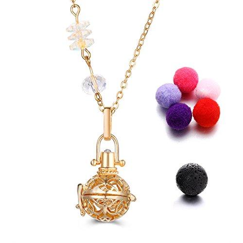 tonver ätherisches Öl Diffusor Halskette, vergoldet Aromatherapie Diffusor Medaillon Anhänger Halskette Schmuck-Set für Frauen, 1vulkanischen Stein + 5zufällige Farben Refill Hairball (Käfig-Gold) -