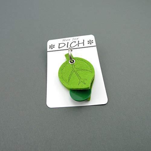 Einkaufschiptasche Blatt aus reinem Wollfilz, Schlüsselanhänger mit dekorativer Verpackung zum Verschenken Oval-chip