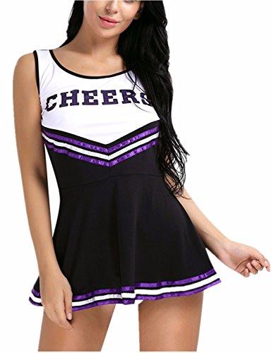 iiniim Damen Cheerleader Kostüm Uniform Minikleid GOGO Clubwear Damen Mädchen Party Karneval Fasching Kostüm Schwarz L