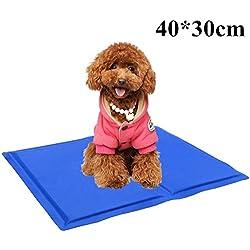 Alfombrilla Refrescante PLUIESOLEIL Manta refrescante para perro (S:40x30CM; M:50x40CM, Azul) (S:30*40cm)