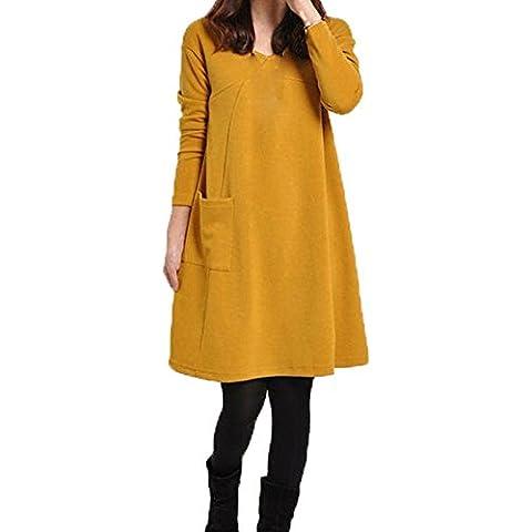 Ularma Abrigos de la mujer, Vestido de manga larga sólida color vestido suelto de otoño