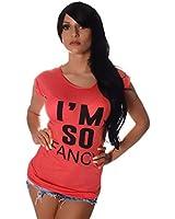 10511 Fashion4Young Damen Kurzarm T-Shirt mit Motiv Tank Top Shirt Tunika 4 Farben 2 Größen