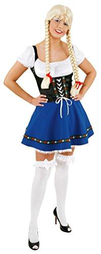 Karneval-Klamotten Kostüm Dirndl Damen Kleid blau-schwarz Oktoberfest Trachten-Kleid Damen Dirndl kurz Bayern-Kleid Tirolerin Damenkostüm 42 (Kostüme Billig Oktoberfest)