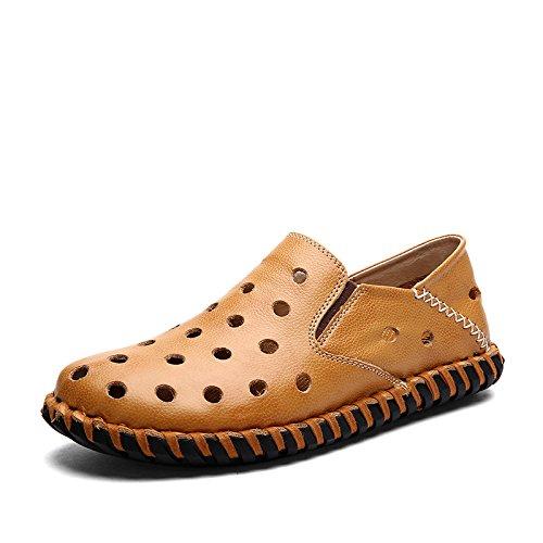 Männer Leder Sandalen mit Löchern handgefertigte Wasser Schuhe langlebig aber weich Mode und komfortabel golden