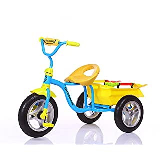 Little Bambino Ride on 3 Wheeler Tricycle Trike Age 3-6 Bicycle | Plastic Spades | Dumper Bucket | Adjustable Seat | Steel Frame | Air Wheel Tyres | Pink Red Blue (Blue)