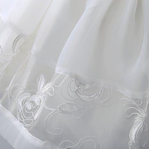 YiZYiF Baby Mädchen Taufkleid Gr. 62 68 80 86 92 Festlich Party Kleider Blumenmädchenkleid Ivory-Weiß mit Mütze Ivory 62 - 6