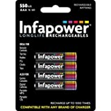 Infapower B009 - INFAPOWER AAA 550mAh Ni-Mh Rechargeable Batteries, 4 Pack (B009) by Infapower