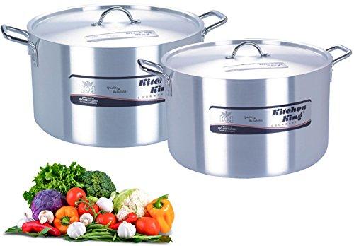 "KITCHEN KING 45cm/18"" Aluminium Heavy Duty Stewpan & Lid - Capacity 42L - Stew Pan, Stew Pot, Stockpot, Large Saucepan - Professional Cookware"