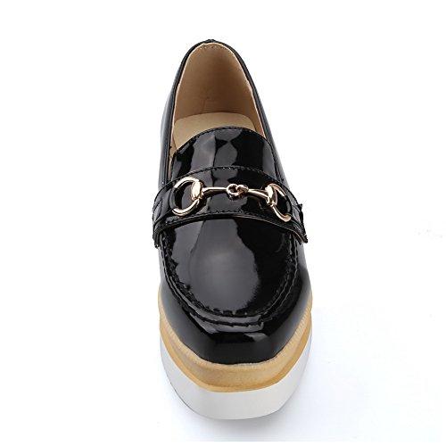 VogueZone009 Femme à Talon Haut Couleur Unie Tire Verni Rond Chaussures Légeres Noir