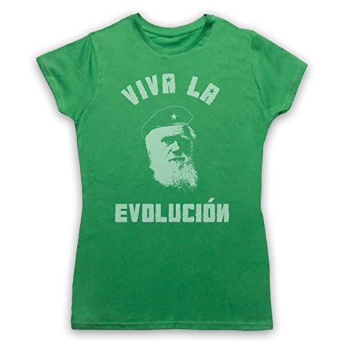 My Icon Art & Clothing Charles Darwin Viva La Evolucion Damen T-Shirt, Grün, Small