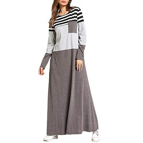 FeiXing158 Gestreifte Lange Hülsen-Damen-Maxi Kleid O Ansatz-Frühling Neue Art- und Weisetaschen beiläufig -