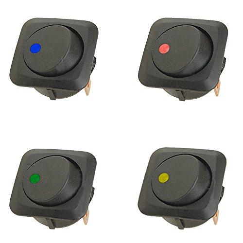Mintice 4 X 25mm Véhicule de voiture Camion de bateau Rond Commutateur à bascule Interrupteur à bascule Lumière LED 12V 25A bleu rouge vert jaune
