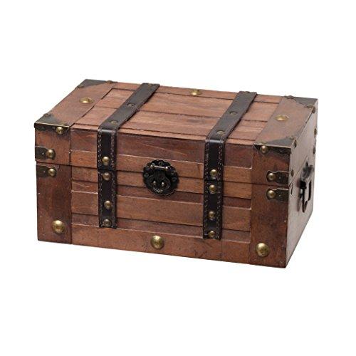 SLPR Boîte à trésors décorative pour bijoux pour fêtes d'anniversaire Coffre en bois avec sangles