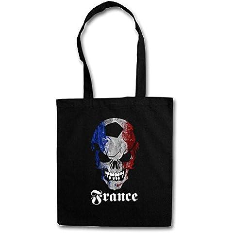 BLACK CLASSIC FÚTBOL FOOTBALL SOCCER FRANCE SKULL FLAG Hipster Shopping Cotton Bag Cestas Bolsos Bolsas de la compra reutilizables – Bandera cráneo Francia Fan Hooligan Frankreich