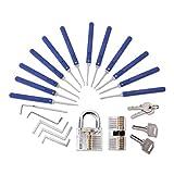 Hima Kit de crochetage de serrure 17 pièces avec 2 cadenas transparents pour débutants et entraînement primaire