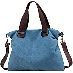 Logobeing Bolsos de Mujer Bolso Totes Lona Bolsos de Hombro Mujer Bolso Bandolera Lona Shoppers de Grande y Baratos para Niña (Azul)