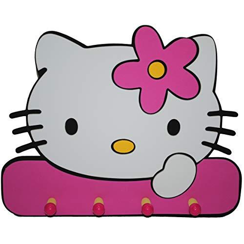 (alles-meine.de GmbH 3D Effekt - Garderobe / Kindergarderobe - Katze Hello Kitty - Moosgummi 4 Haken Kind Kinder Mädchen Katze Kätzchen - Garderobenhaken)