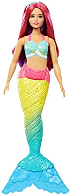 Barbie FJC93 Fantasy Rainbow Cove Mermaid Caucasian Curvy Dreamtopia, Long Hair, Colourful Tail, Bath Play, Gift for 2 to 5 Years Children Dolls