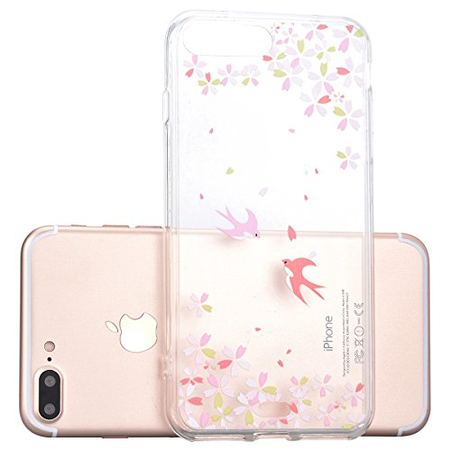 Cover iPhone 7, Yokata Custodia Trasparente Crystal Clear Coque PC Hart Backcover con Soft Morbido TPU Silicone Bumper Case et Ultra Slim Protettivo Case Cover + 1*Penna Stilo - Campanula Deglutire