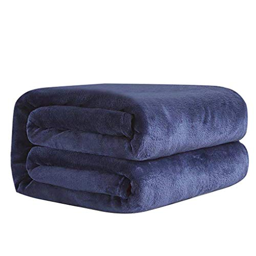Lorsoul Solid Color-Flanell-Decke Bett Auto-Büro-Sofa Herbst-Winter-Warmer Teppich Klimaanlage Zimmer Teppiche - Marine-Blau, 70 * 100cm -