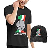 AOCCK Homme T- T-Shirt Polos et Chemises, Customized Cagiva Motorcycles Logo T-Shirt with Hats for Men 100% Organic Cotton Short Sleeve Black