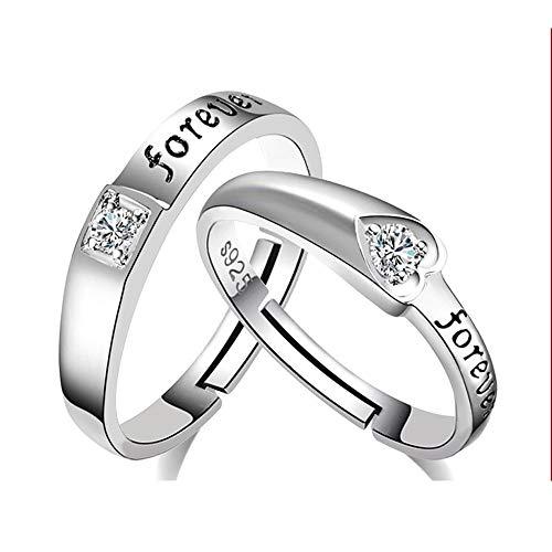 YOLANDE 925 Sterling Silber Sein und Ihr Herz Form Liebe für Immer Klassische Unisex Hochzeit Engagement Comfort Fit Schmuck Band Ring Set (einstellbare Größe) (Wie Kaufen Sie Einen Verlobungsring)