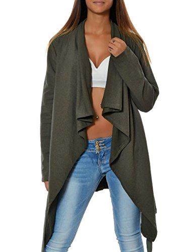 Damen Mantel Übergangs-Jacke Cardigan Gürtel (weitere Farben) 15727, Farbe:Khaki, Größe:One Size