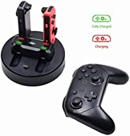 Eookall Switch Controller Charger Joy-Con Charging Dock Station 5 in 1 Pro Controller Charger Seat Compatible