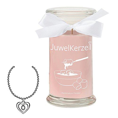 JuwelKerze Marshmallow Fondue - Kerze im Glas mit Schmuck - Große rosane Duftkerze mit Überraschung als Geschenk für Sie (Silber Halskette & Anhänger, Brenndauer: 90-120 Stunden)