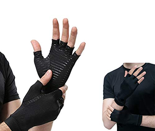Arthritis Handschuhe Indoor Sports Copper Fiber Health Care halbe Finger-Handschuhe Reha-Training Arthritis Druck Handschuhe 1x Paar (Size : L)