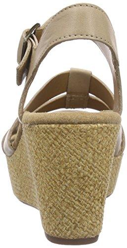 Clarks Caslynn Harp, Sandales à talon compensé femme Beige (Sand Leather)